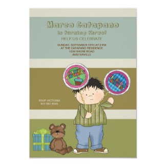 Birthday Boy with Two Balloons Party Invitation