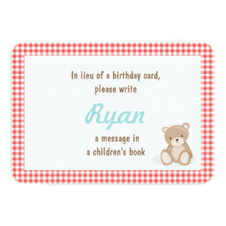 Birthday Bring a book Teddy Bear insert card Red