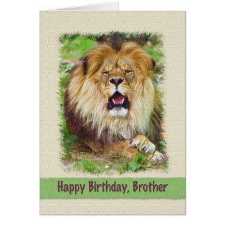 Birthday, Brother, Lion Card