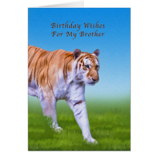 Birthday,  Brother, Tiger Walking Greeting Card