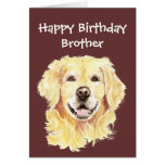 Birthday Brother Watercolor Golden Retriever Dog Cards