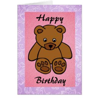 Birthday Brown Teddy Bear Girl Card