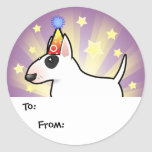 Birthday Bull Terrier Gift Tags Classic Round Sticker