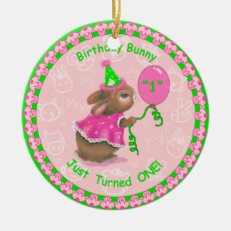 Birthday Bunny Just Turned One! Gift Tag/Ornament Ceramic Ornament