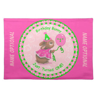 """""""Birthday Bunny Just Turned One!"""" Pink Placemat Placemat"""