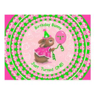 Birthday Bunny Just Turned One! Postcard
