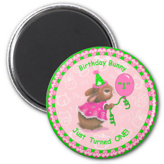 """""""Birthday Bunny Just Turned One!"""" Round Magnet Magnet"""