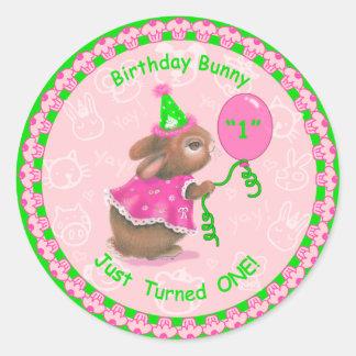 """Birthday Bunny Just Turned One!"" Round Sticker"
