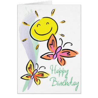 Birthday-Butterflies and Sunshine Greeting Card