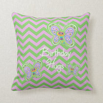 Birthday Butterfly Hugs Throw Pillow