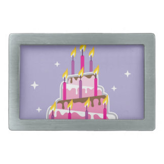 Birthday Cake 10 Candles Rectangular Belt Buckle