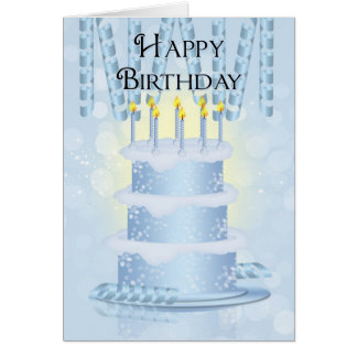 Birthday Cake And Candles Card With Party Ribbon