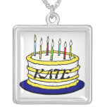 Birthday Cake and Candles Custom Necklace