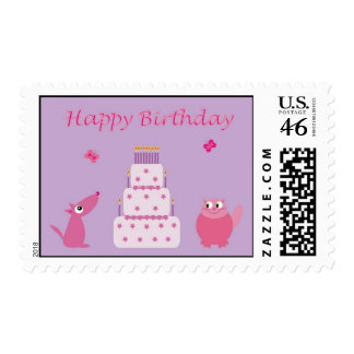 Birthday cake and cute pets postage stamp