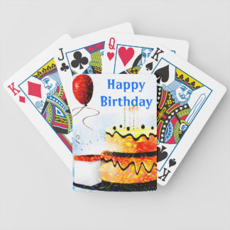 Birthday Cake & Balloons Party In Blue Bicycle Card Deck
