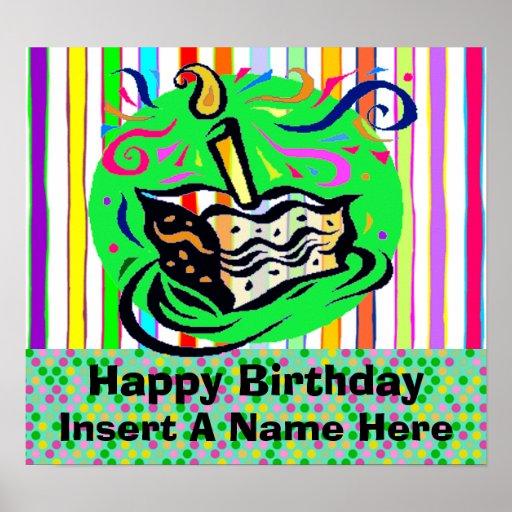 Birthday Cake Posters Art Prints : Birthday Cake Birthday Poster Zazzle