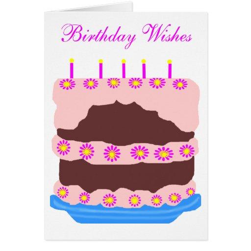 Birthday cake, Birthday Wishes card  Zazzle