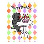 Birthday Cake Black Labrador Cartoon Postcards