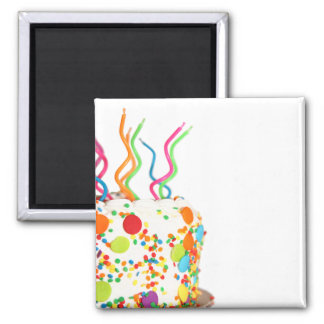 Birthday Cake Button 2 Inch Square Magnet