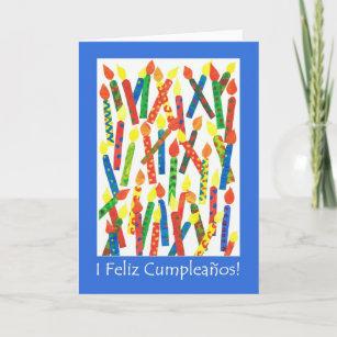 Birthday greeting in spanish gifts on zazzle birthday cake candles card spanish greeting card m4hsunfo