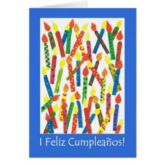 Birthday Cake Candles Card, Spanish Greeting Card