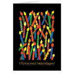 Birthday Cake Candles Card with Danish Greeting