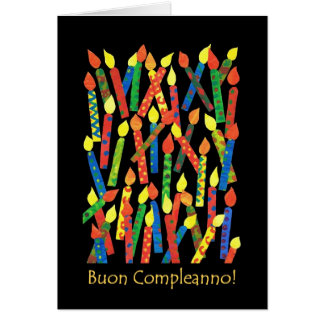 Birthday Cake Candles Card with Italian Greeting