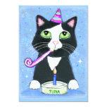 "Birthday Cake Cat Custom Invitation 5"" X 7"" Invitation Card"