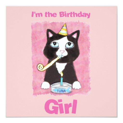 Birthday Cake Cat Custom Invitation