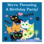 "Birthday Cake Cat Custom Invitation 5.25"" Square Invitation Card"