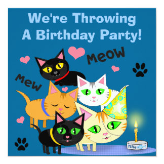Birthday Cake Cat Custom Invitation
