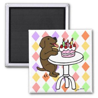 Birthday Cake Chocolate Labrador Cartoon 2 Inch Square Magnet