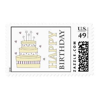 Birthday Cake Custom Postage-butter yellow Postage
