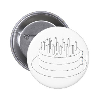 Birthday Cake - Drafted Architectural Style Pinback Button