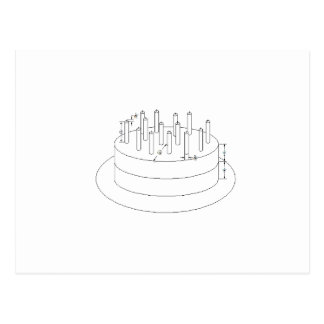 Birthday Cake - Drafted Architectural Style Postcard