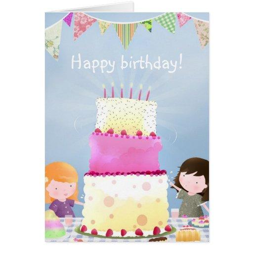 Birthday cake fun - greeting card  Zazzle