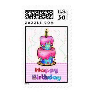 Birthday Cake fun Happy Birthday pink & blue stamp