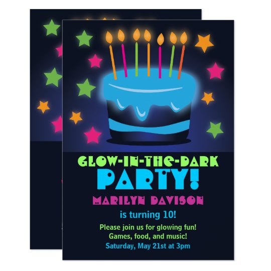Birthday Cake Glow in the Dark Party Invitations – Glow Party Invite
