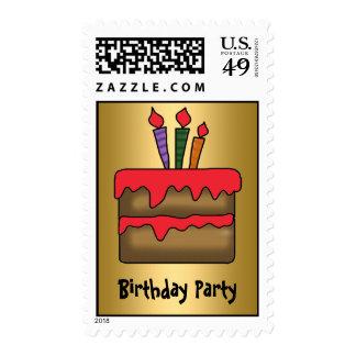 Birthday Cake Invitation gold Postage Stamps