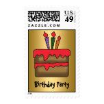 Birthday Cake Invitation gold Postage Stamp