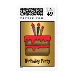 Birthday Cake Invitation gold Postage Stamps