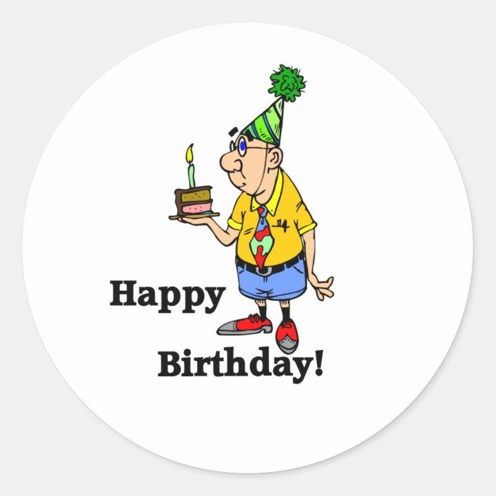 Fine Birthday Cake Man Classic Round Sticker Zazzle Com Birthday Cards Printable Giouspongecafe Filternl