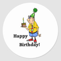 Birthday Cake -  Man Classic Round Sticker