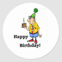 Birthday Cake -  Man Classic Round Sticker