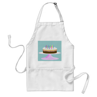 Birthday cake on cake stand adult apron