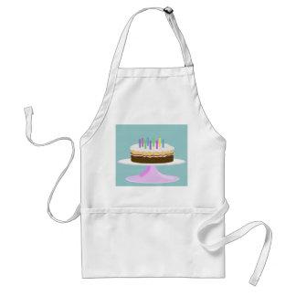 Birthday cake on cake stand adult apron