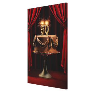 BIrthday Cake on Stage with number 50 candles Canvas Print