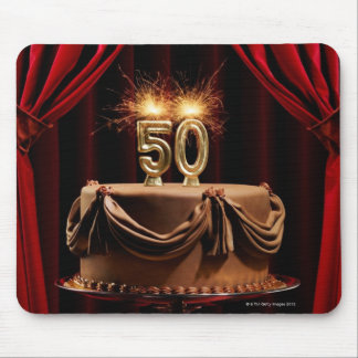 BIrthday Cake on Stage with number 50 candles Mouse Pad