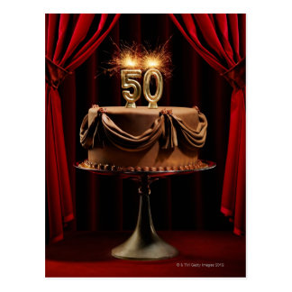 BIrthday Cake on Stage with number 50 candles Postcard