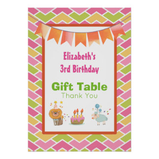 Birthday Cake Party Lion and Sheep Gift Table Poster